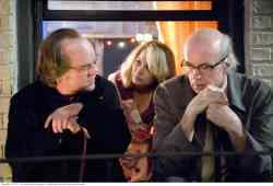 Caden Cotard (Philip Seymour Hoffman), Claire Keen (Michelle Williams) and Sammy Barnathan (Tom Noonan)