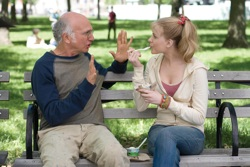 Boris Yellnikoff (Larry David) and Melodie St. Ann Celestine (Evan Rachel Wood)