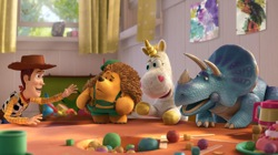 Toy Story 3: Woody (Tom Hanks), Mr. Pricklepants (Timothy Dalton), Buttercup (Jeff Garlin), Trixie (Kristen Schaal)