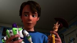 Toy Story 3: Buzz Lightyear (Tim Allen, Andy (John Morris) and Woody (Tom Hanks)