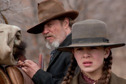 True Grit: Rooster Cogburn (Jeff Bridges) and Mattie Ross (Hailee Steinfeld)