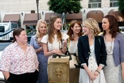 Bridesmaids: Megan (Melissa McCarthy), Rita (Wendi McLendon-Covey), Helen (Rose Byrne), Becca (Ellie Kemper), Annie (Kristen Wiig) and Lillian (Maya Rudolph).