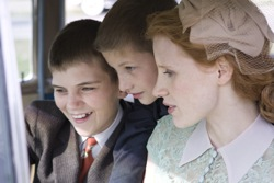 The Tree of Life: Jack (Hunter McCracken), Steve (Tye Sheridan) and Mrs O'Brien (Jessica Chastain)