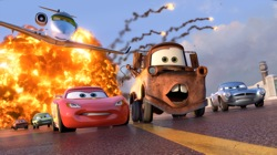 Cars 2: Grem (voice by Joe Mantegna), Acer (voice by Peter Jacobson), Siddeley (voice by Jason Isaacs), Lightning McQueen (voice by Owen Wilson), Mater (voice by Larry the Cable Guy), Finn McMissile (voice by Michael Caine)