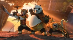 Kung Fu Panda 2: Po (Jack Black, center) and The Furious Five (left to right) Crane (David Cross), Tigress (Angelina Jolie) Mantis (Seth Rogen), Monkey (Jackie Chan), and Viper (Lucy Liu).