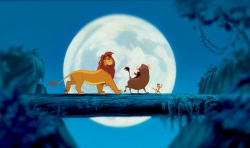 The Lion King: Adult Simba (voiced by Matthew Broderick), Pumbaa (Ernie Sabella) and Timon (Nathan Lane)