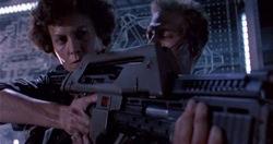 Aliens: Ellen Ripley (Sigourney Weaver) and Corporal Hicks (Michael Biehn)