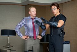 Mission: Impossible - Ghost Protocol: Benji Dunn (Simon Pegg) and Ethan Hunt (Tom Cruise)