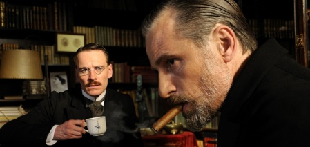 A Dangerous Method: Carl Jung (Michael Fassbender) and Sigmund Freud (Viggo Mortensen)