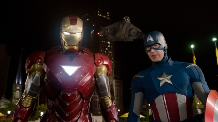 The Avengers: Iron Man (Robert Downey Jr.) and Captain America (Chris Evans)
