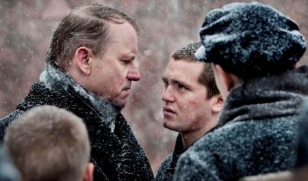 King of Devil's Island: Governor Bestyreren (Stellan Skarsgård) and Erling (Benjamin Helstad)