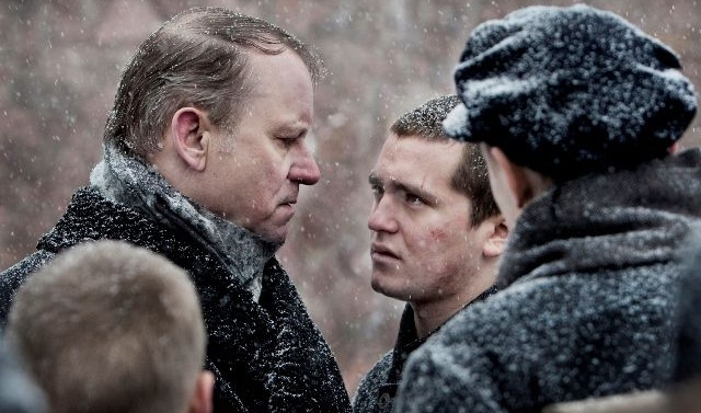 King of Devil's Island: Governor Bestyreren (Stellan Skarsgård) and Erling (Benjamin Helstad)