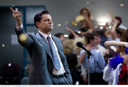 Leonardo DiCaprio as Jordan Belfort in The Wolf of Wall Street