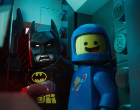 Will Arnett voicing Batman and Charlie Day voicing Benny in The LEGO Movie