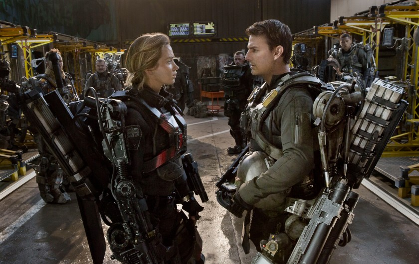 Emily Blunt as Rita and Tom Cruise as Cage in Edge of Tomorrow