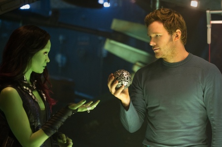 Zoe Saldana as Gamora and Chris Pratt as Peter Quill in Guardians of the Galaxy