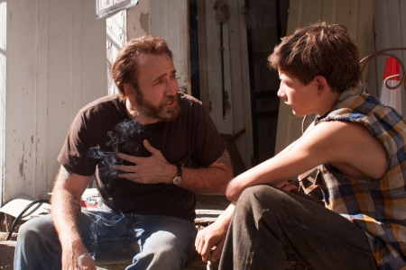 Nicolas Cage as Joe and Tye Sheridan as Gary in Joe.