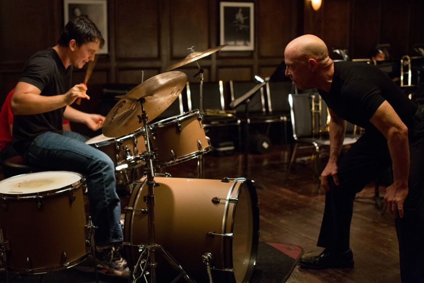 Miles Teller as Andrew Neyman and JK Simmons as Terence Fletcher in Whiplash
