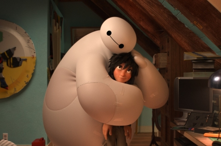 Baymax (voiced by Scott Adsit) and Hiro (voiced by Ryan Potter) in Big Hero 6