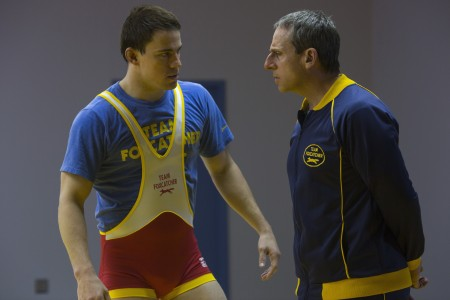 Channing Tatum as Mark Schultz and Steve Carell as John du Pont in Foxcatcher