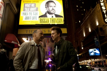 Michael Keaton as Riggan Thomson and Edward Norton as Mike Shiner