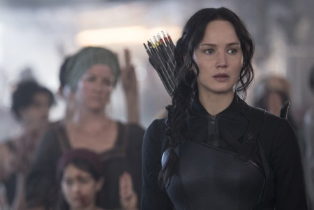 Jennifer Lawrence as Katniss Everdeen in The Hunger Games: Mockingjay - Part 1