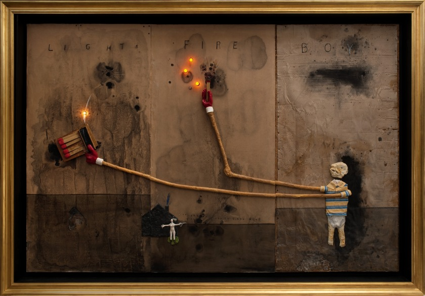 David Lynch, United States b.1946 / Boy Lights Fire 2010 / Mixed media on cardboard, 182.8 x 274.3cm / Courtesy: The artist / © David Lynch