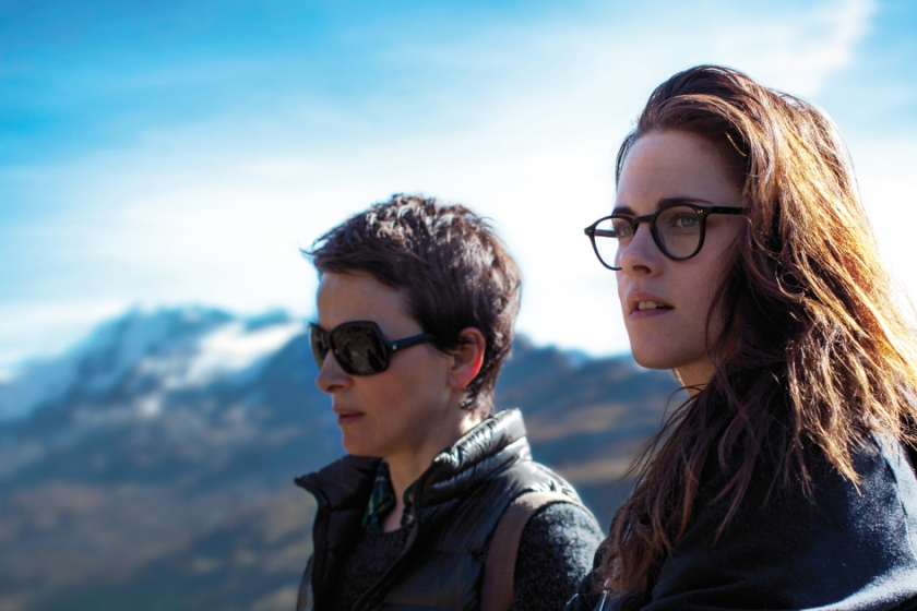 Juliette Binoche as Maria Enders and Kristen Stewart as Valentine in Clouds of Sils Maria