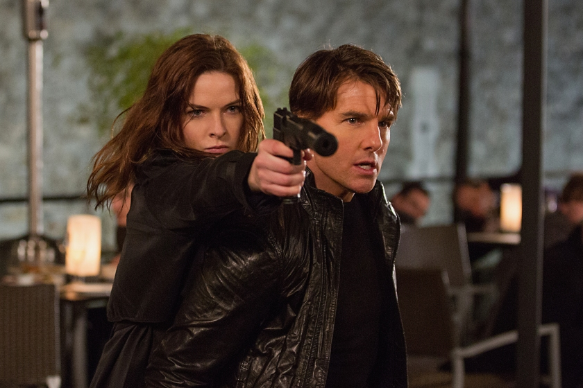 Rebecca Ferguson as Ilsa Faust and Tom Cruise as Ethan Hunt in Mission: Impossible – Rogue Nation