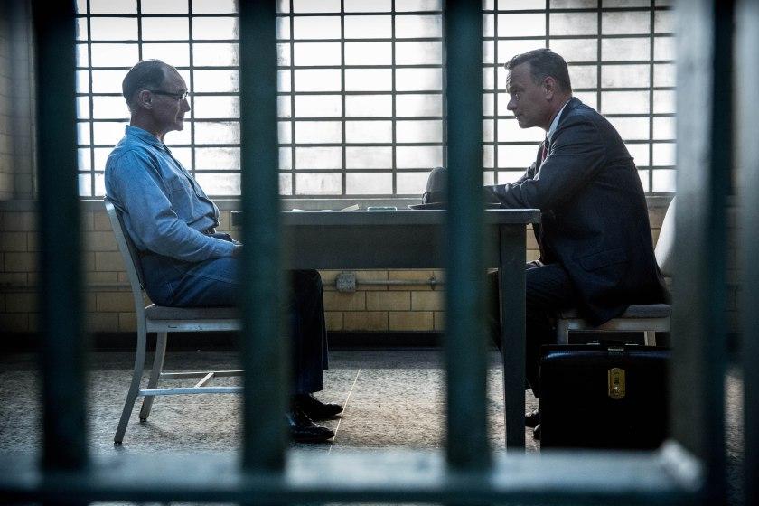 Mark Rylance as Rudolf Abel and Tom Hanks as James B Donovan in Bridge of Spies